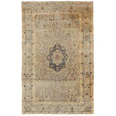 19th Century Persian Mohtesham Kashan Rug in Cream and Light blue, light Green