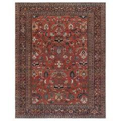 19th Century Persian Sultanabad Brick Red Handmade Wool Rug