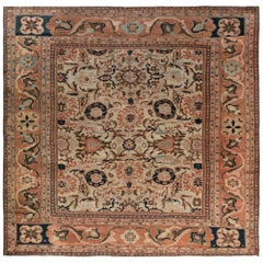 19th Century Persian Sultanabad Handwoven Wool Carpet