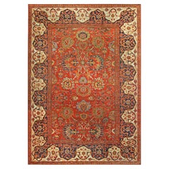 19th Century Persian Sultanabad Red Botanical Handmade Carpet