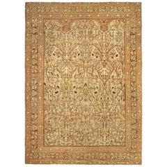 19th Century Persian Tabriz Beige and Brown Handwoven Wool Rug