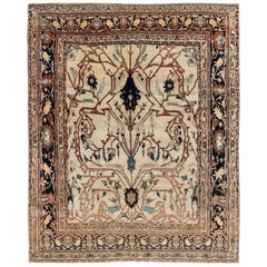 19th Century Persian Tabriz Cream, Brown, Gray and Black Handwoven Wool Rug