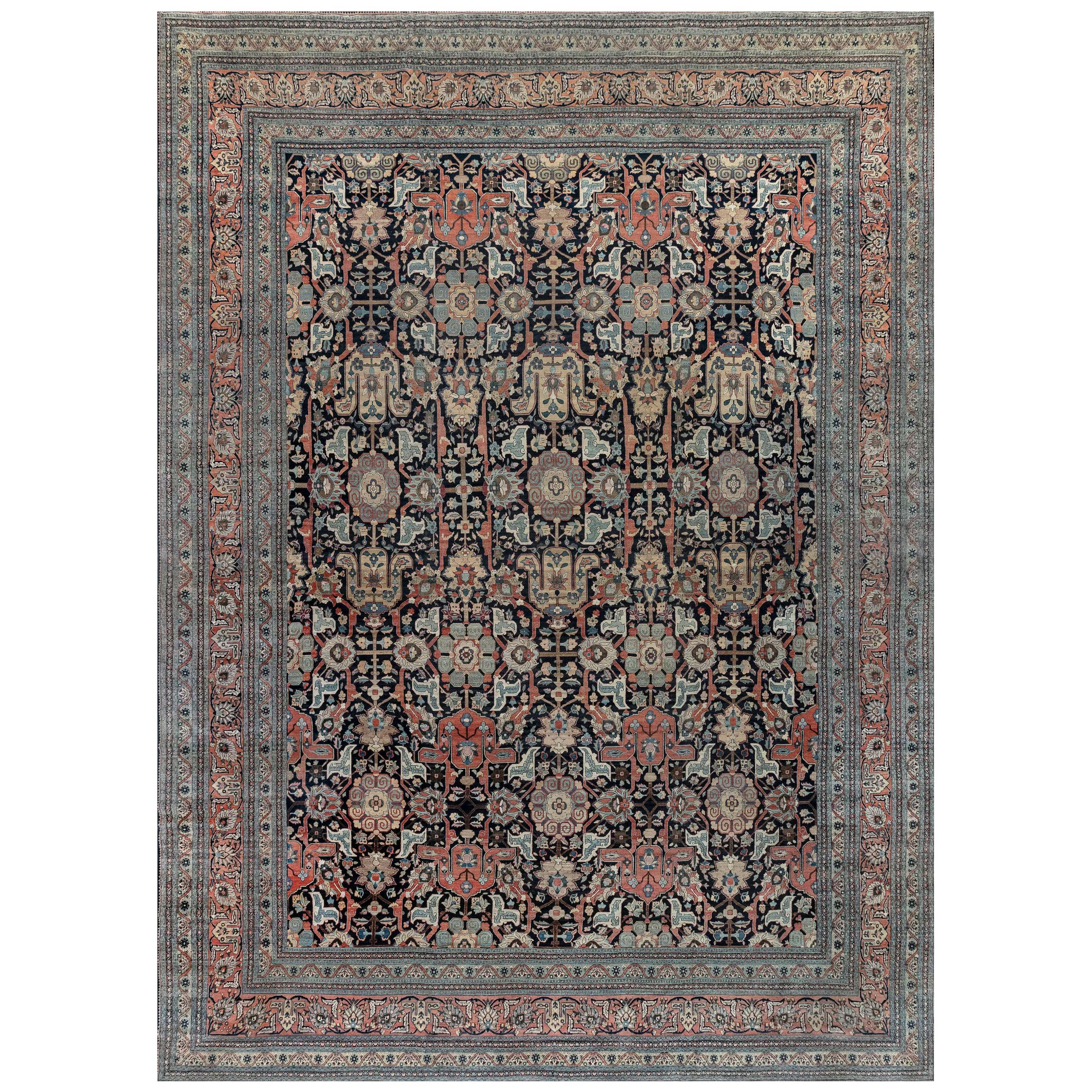 19th Century Persian Tabriz Handwoven Wool Rug