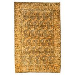 19th Century Persian Tabriz Honey Yellow and Black Handwoven Wool Rug
