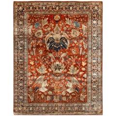 19th Century Persian Tabriz Silk Red and Navy Blue Rug
