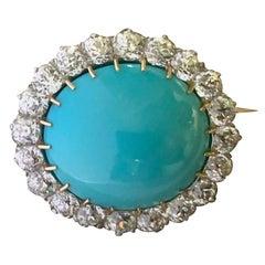 19th Century Persian Turquoise Old Mine Diamond Gold Brooch
