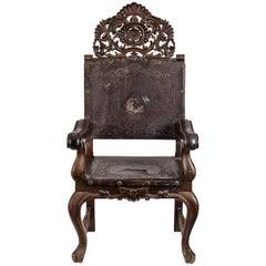 19th Century Peruvian Hand-Carved Chestnut Armchair