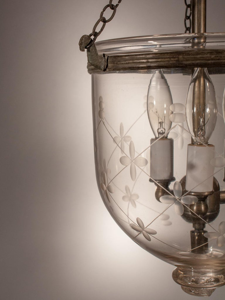 Victorian 19th Century Petite Bell Jar Lantern with Etching For Sale