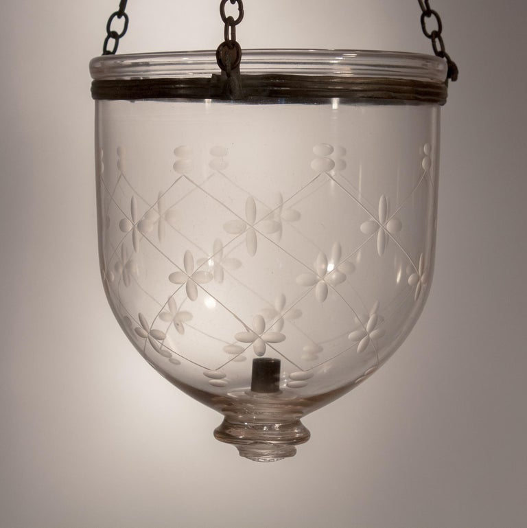 19th Century Petite Bell Jar Lantern with Etching For Sale 2