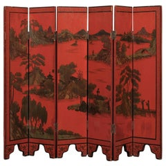 19th Century Petite Chinese Red Lacquer Screen