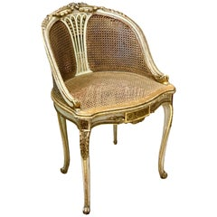 19th Century Petite French Ballroom Round Chair, in Louis XVI Style
