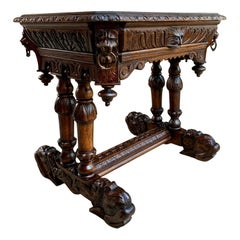 19th Century Petite French Carved Oak Dolphin Table Desk Renaissance Gothic