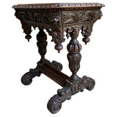 19th Century Petite French Carved Oak Sofa Side Table Renaissance Black Forest
