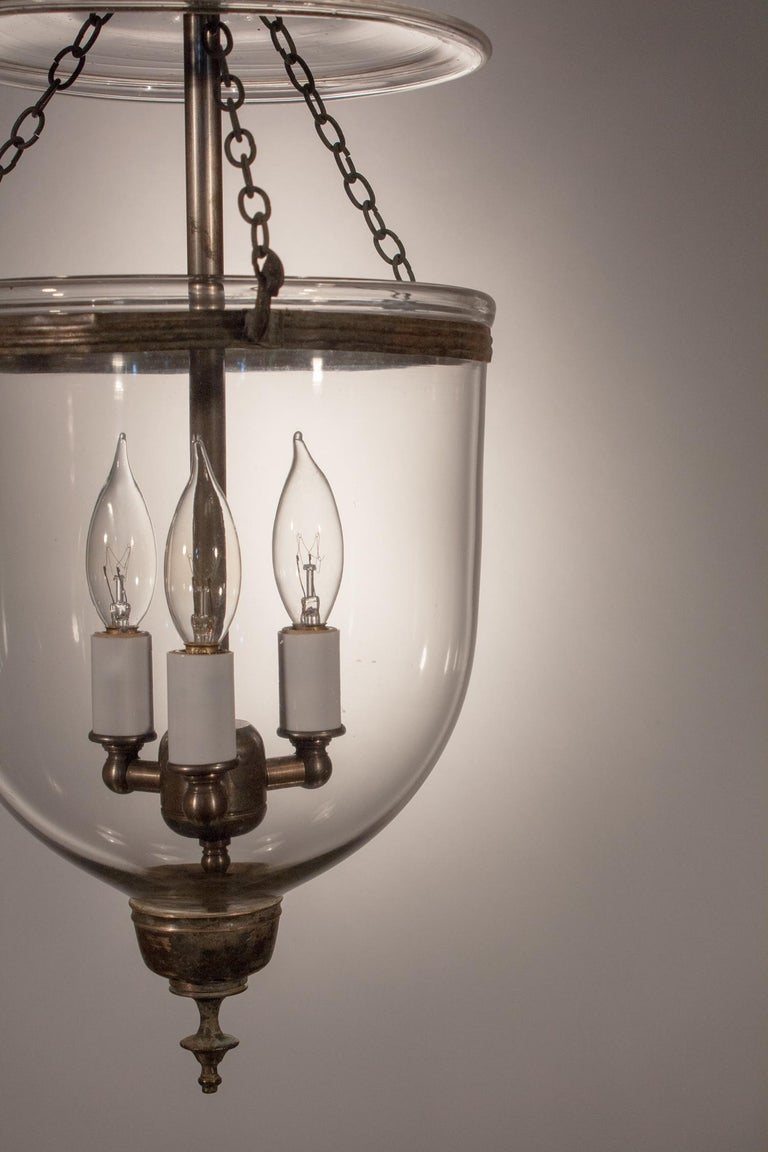 Victorian 19th Century Petite Handblown Glass Bell Jar Lantern For Sale