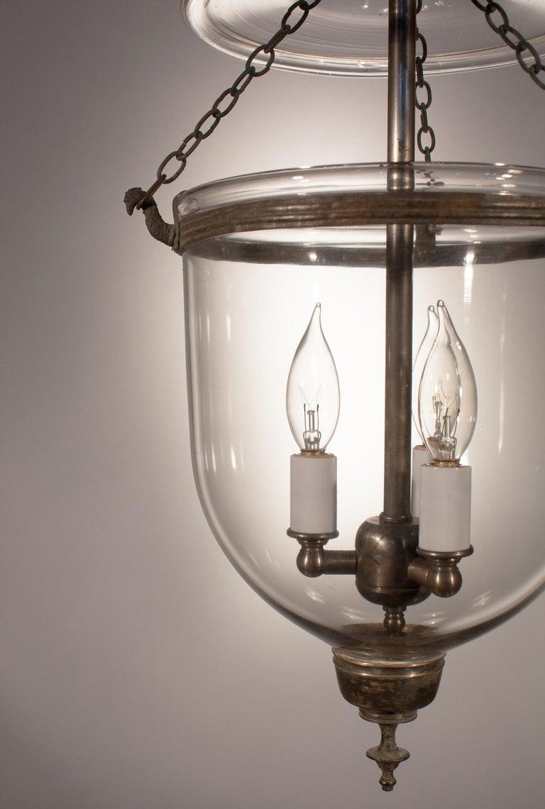 English 19th Century Petite Handblown Glass Bell Jar Lantern For Sale