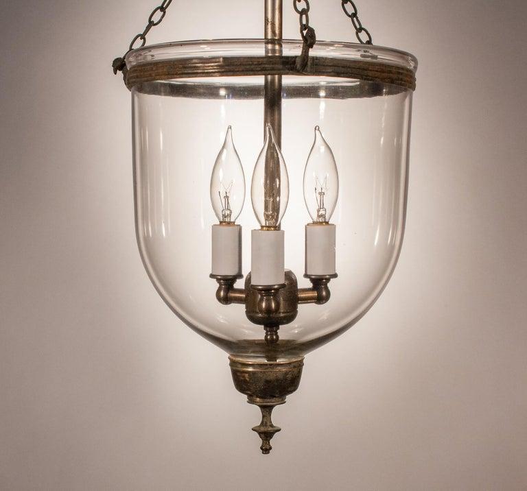 19th Century Petite Handblown Glass Bell Jar Lantern In Good Condition For Sale In Shelburne Falls, MA