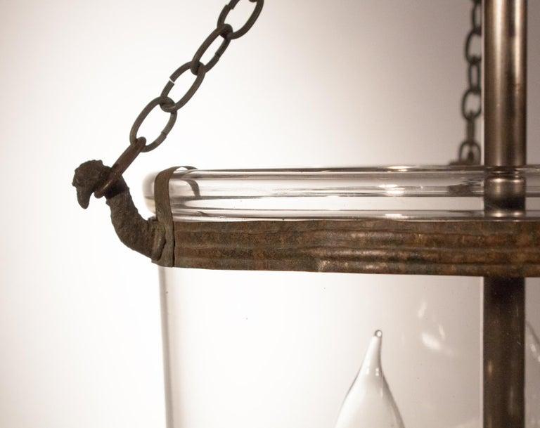 Brass 19th Century Petite Handblown Glass Bell Jar Lantern For Sale