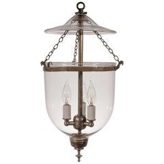 19th Century Petite Handblown Glass Bell Jar Lantern