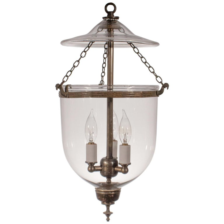 19th Century Petite Handblown Glass Bell Jar Lantern For Sale