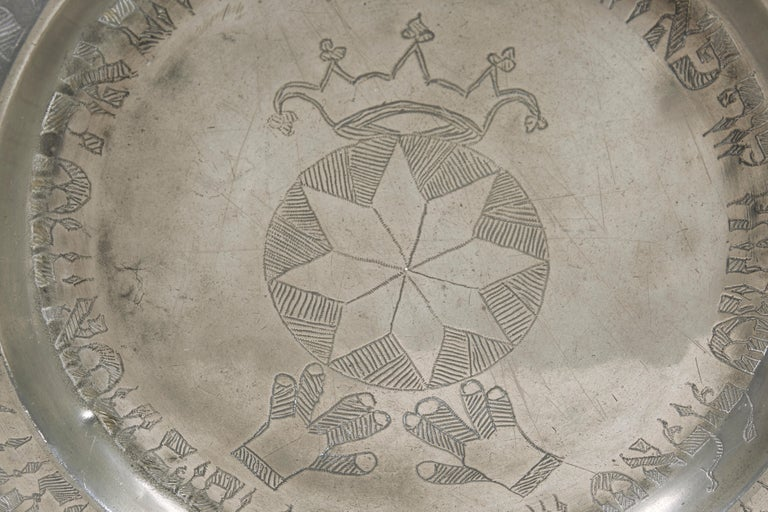 Engraved 19th Century German Pewter Passover Plate For Sale