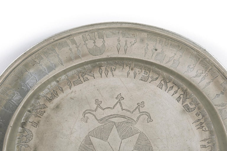 Early 19th Century 19th Century German Pewter Passover Plate For Sale