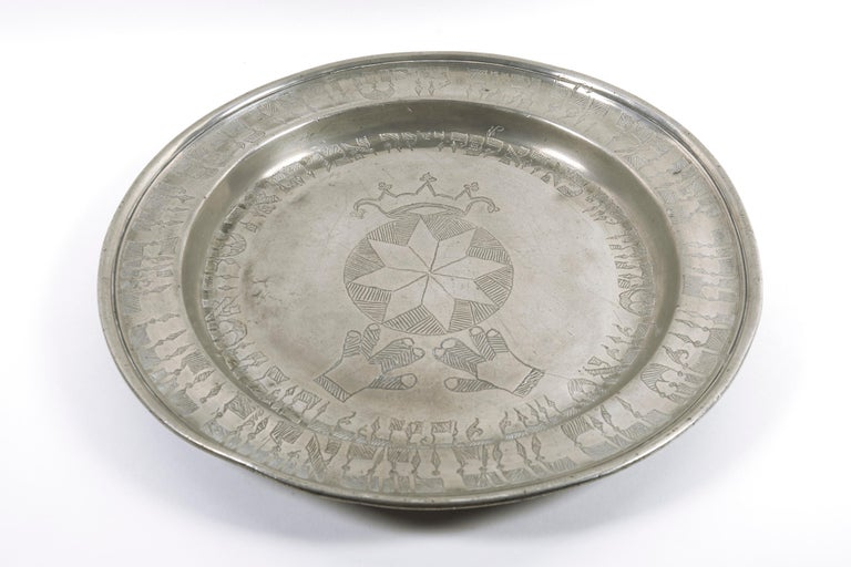 19th Century German Pewter Passover Plate For Sale 2