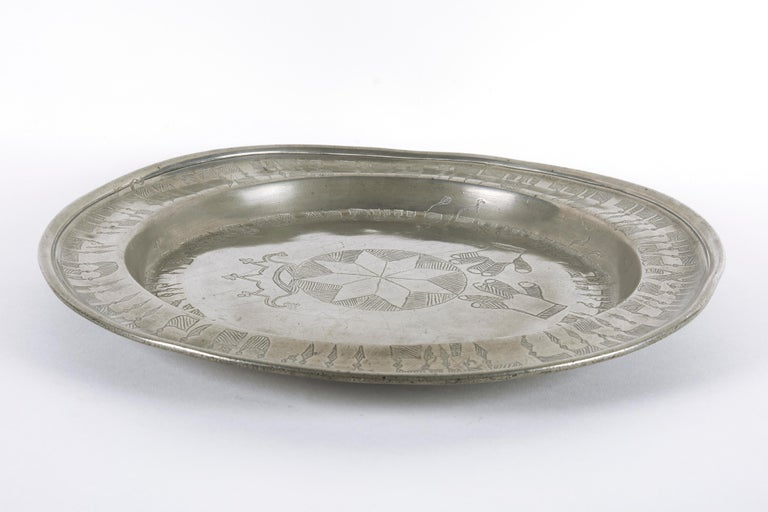 19th Century German Pewter Passover Plate For Sale 4