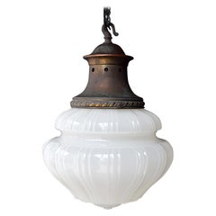 19th Century Pharmacy Moonstone Glass Pendant Light