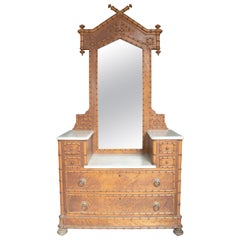 19th Century Philippine Bamboo, Walnut and Oak Dressing Table with Marble Top