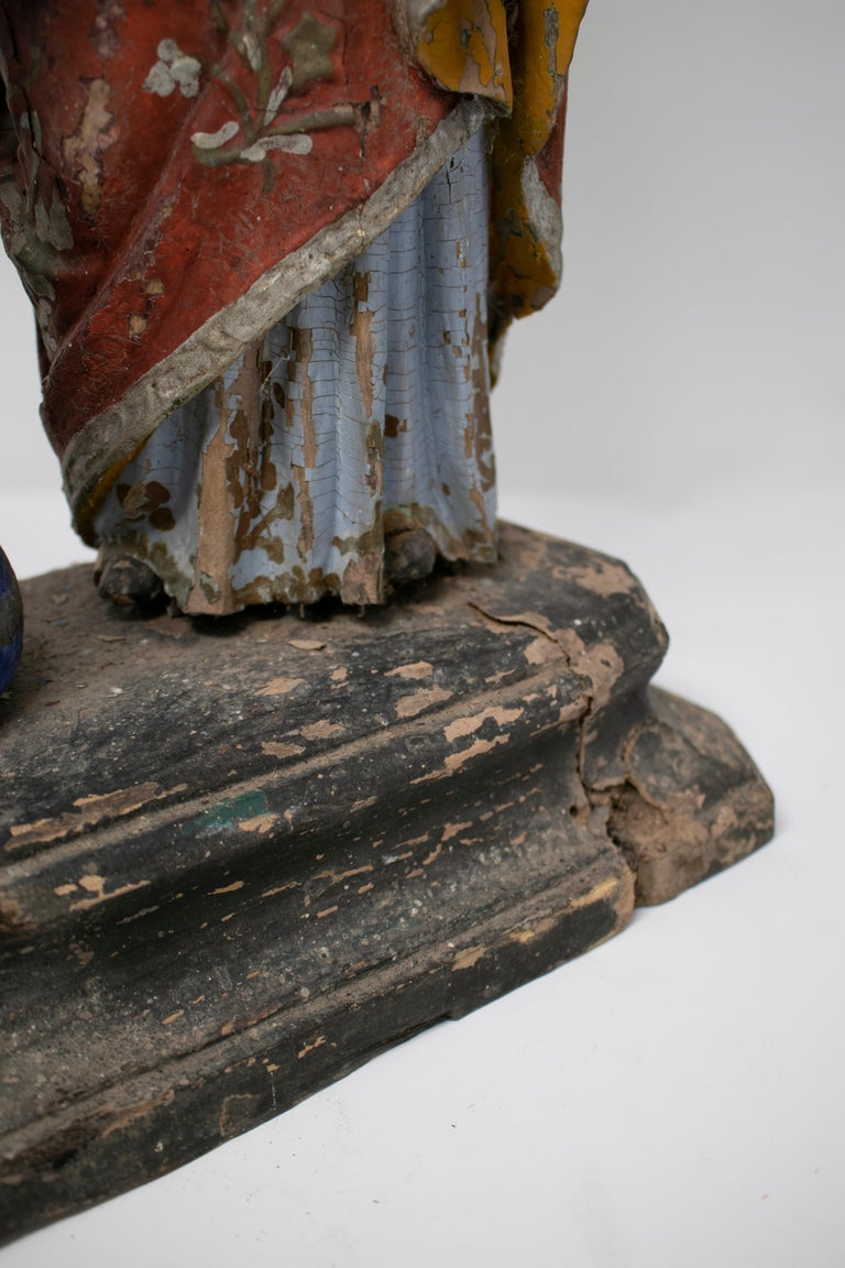 19th Century Philippines Holy Family Painted Wood Figure Sculptures For Sale 15