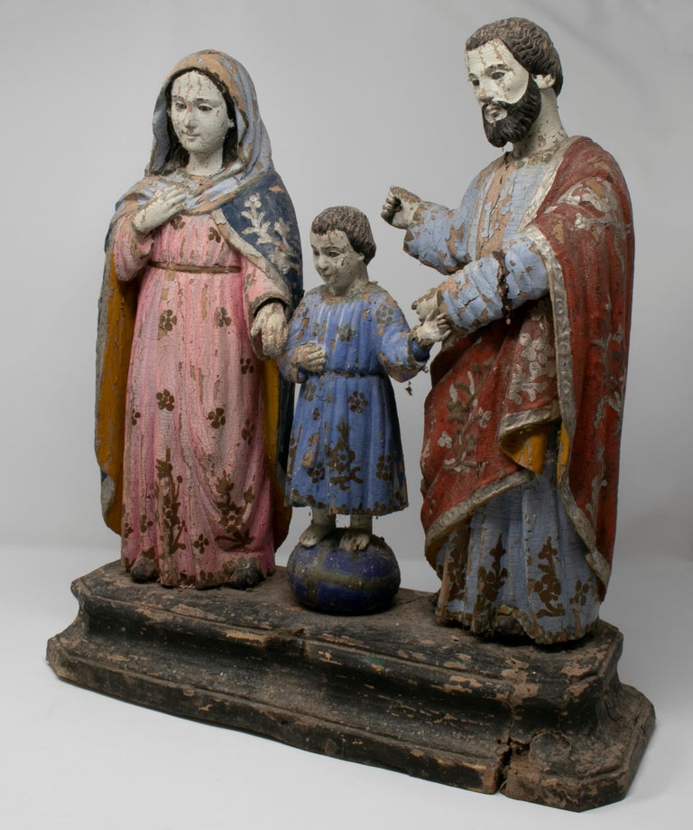 19th century Filipino Holy Family painted wood figure sculpture.