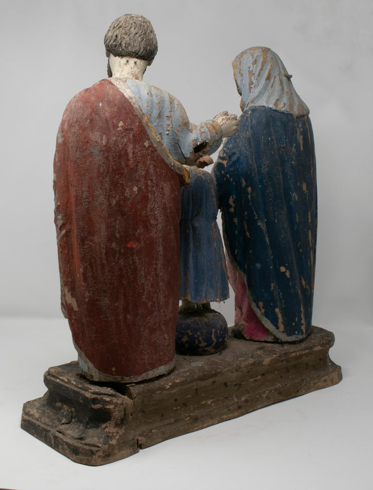 19th Century Philippines Holy Family Painted Wood Figure Sculptures For Sale 1