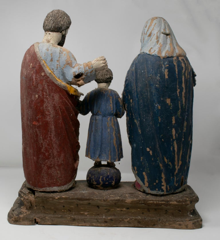 19th Century Philippines Holy Family Painted Wood Figure Sculptures For Sale 2