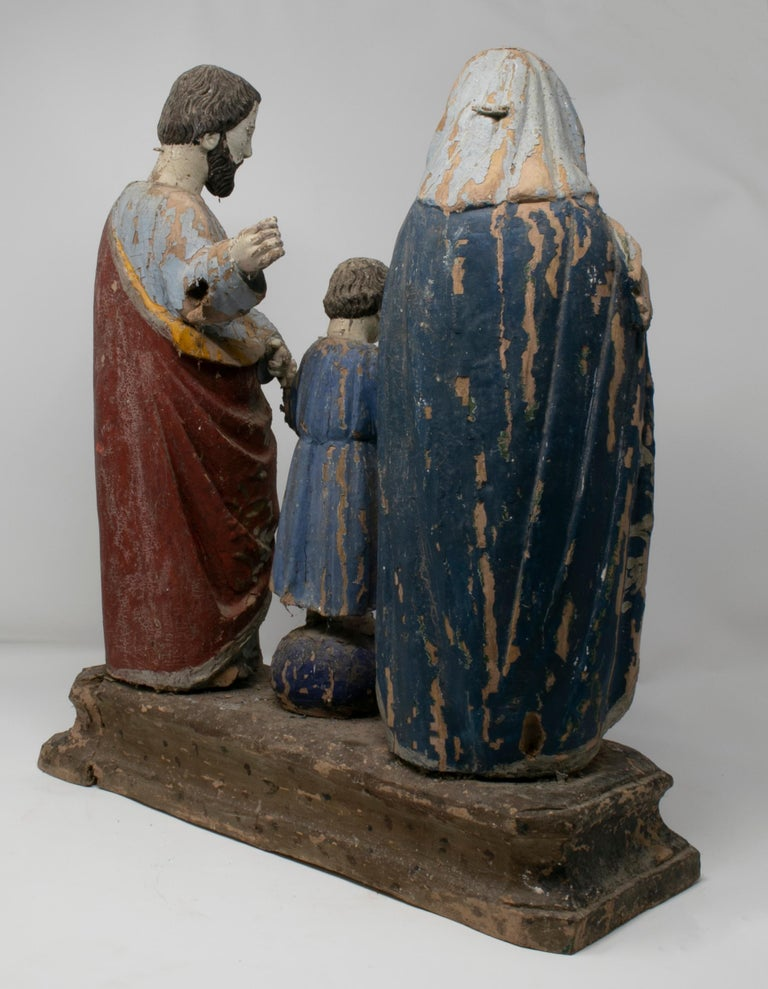 19th Century Philippines Holy Family Painted Wood Figure Sculptures For Sale 3