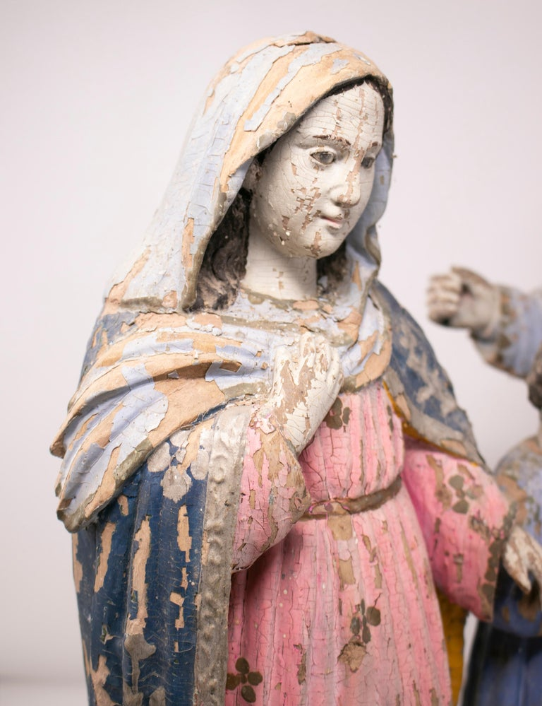 19th Century Philippines Holy Family Painted Wood Figure Sculptures For Sale 5