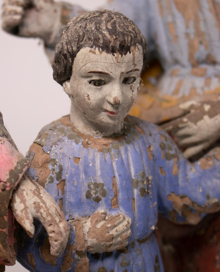 19th Century Philippines Holy Family Painted Wood Figure Sculptures For Sale 6