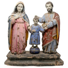 19th Century Philippines Holy Family Painted Wood Figure Sculptures