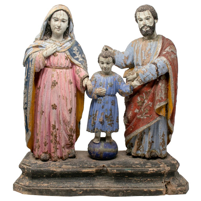 19th Century Philippines Holy Family Painted Wood Figure Sculptures For Sale