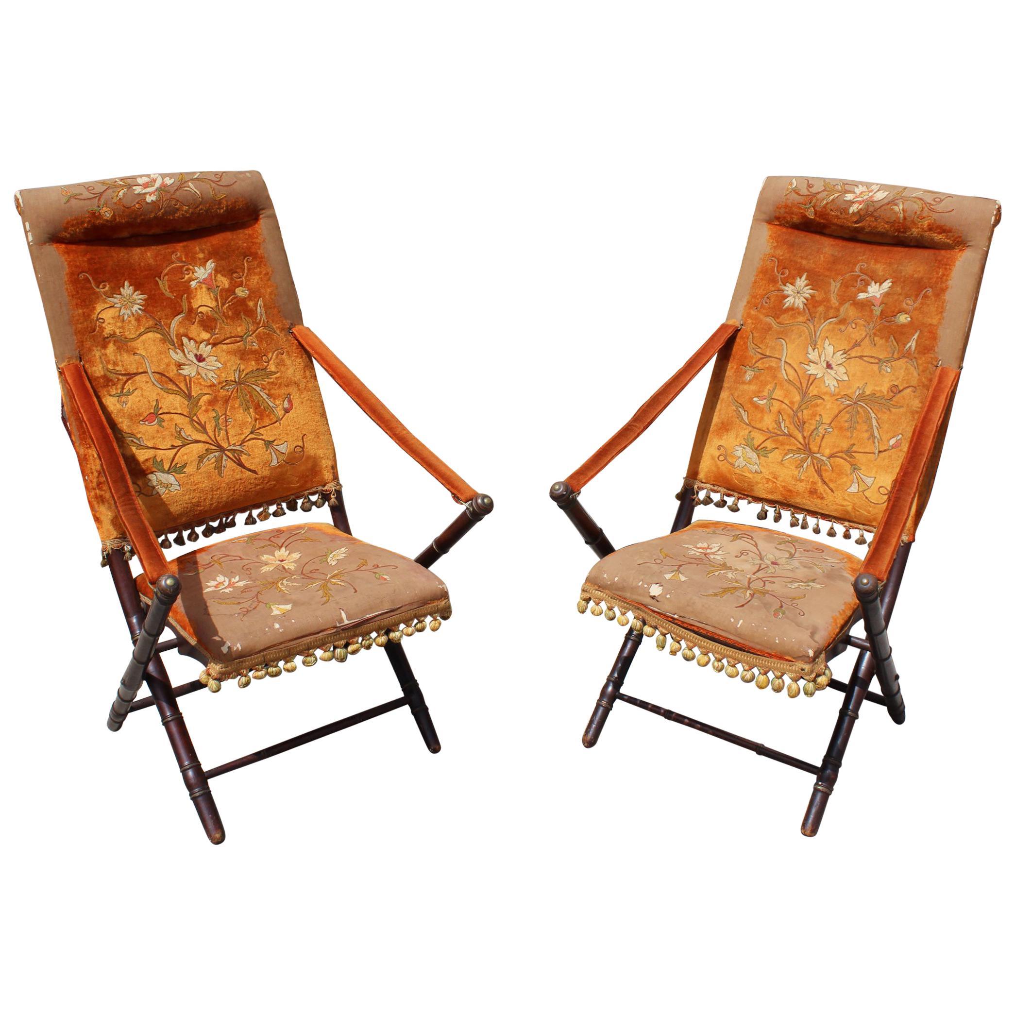 19th Century Phillippine Pair of Red Velvet Armchairs