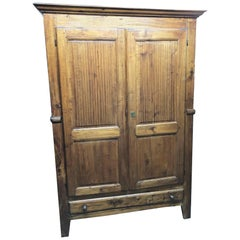 19th Century Piedmontese Poplar Wardrobe, Restored, Wax Polished, from Italy