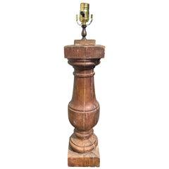 19th Century Pine Balustrade from Savannah, Gaorgia as Lamp