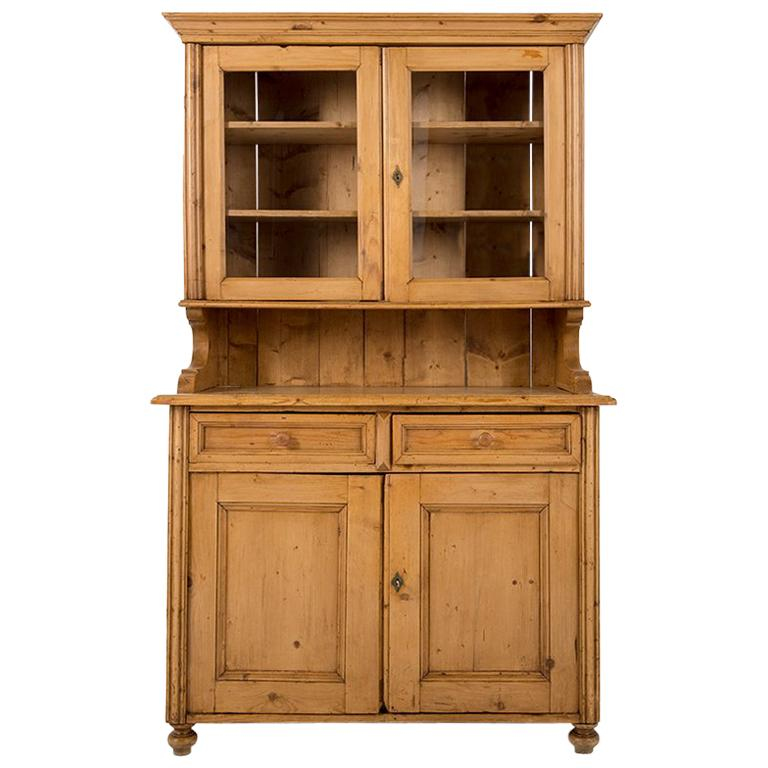 19th Century Pine Buffet With Hutch For Sale