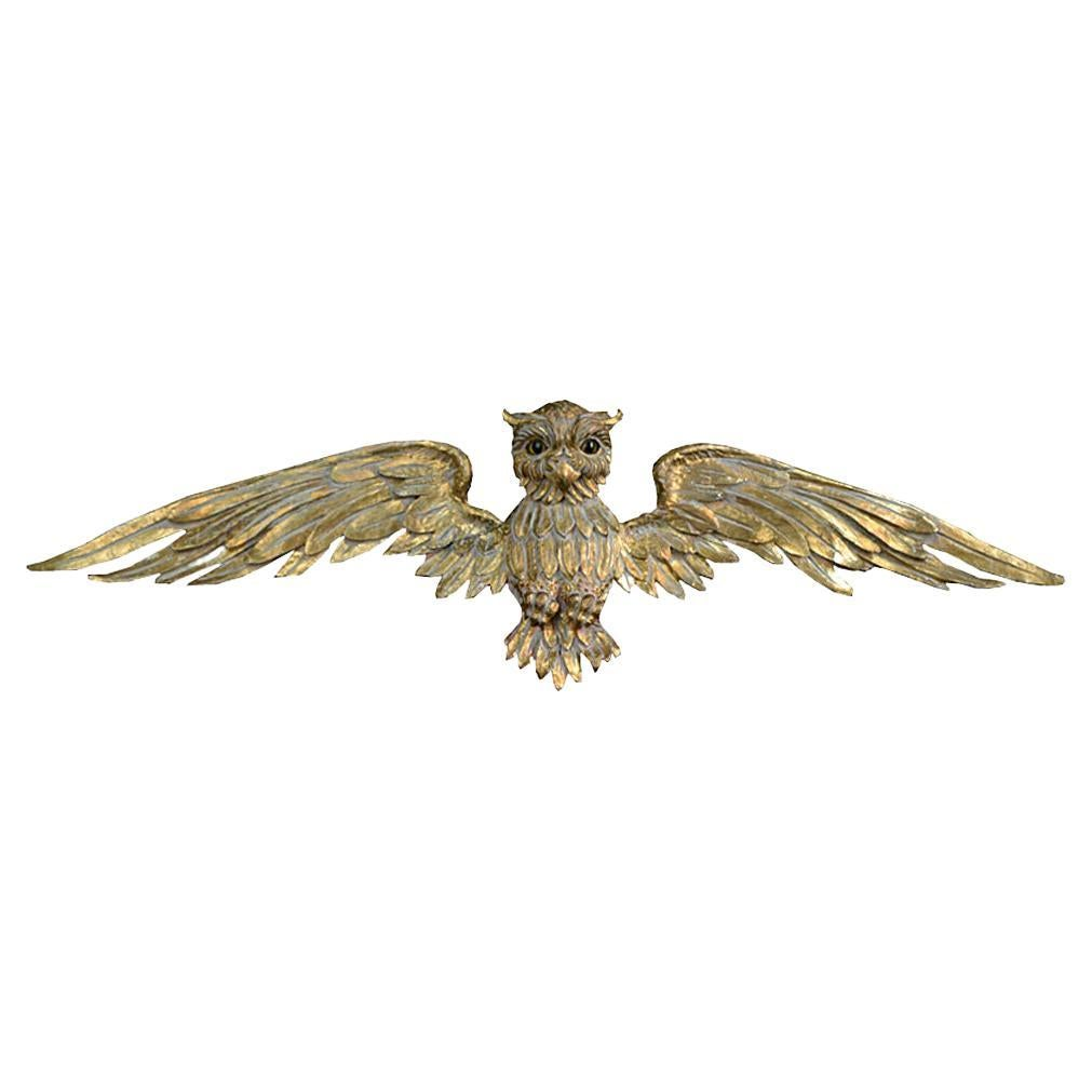 19th Century Pine Gold Gilt Carved Owl Figure