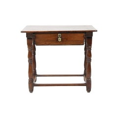 19th Century Pine Stretcher Based Side Table