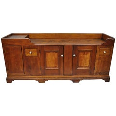 19th Century Pine Wood Primitive Long Dry Sink Cupboard Cabinet Sideboard Buffet