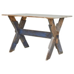 19th Century Pine X Frame Occasional Table