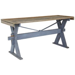 19th Century Pine X-Frame Painted Work Table
