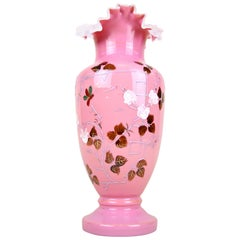 19th Century Pink Glass Vase with Enamel Paintings, Austria, circa 1890