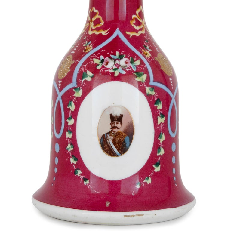 Islamic 19th Century Pink Painted Porcelain Huqqa For Sale