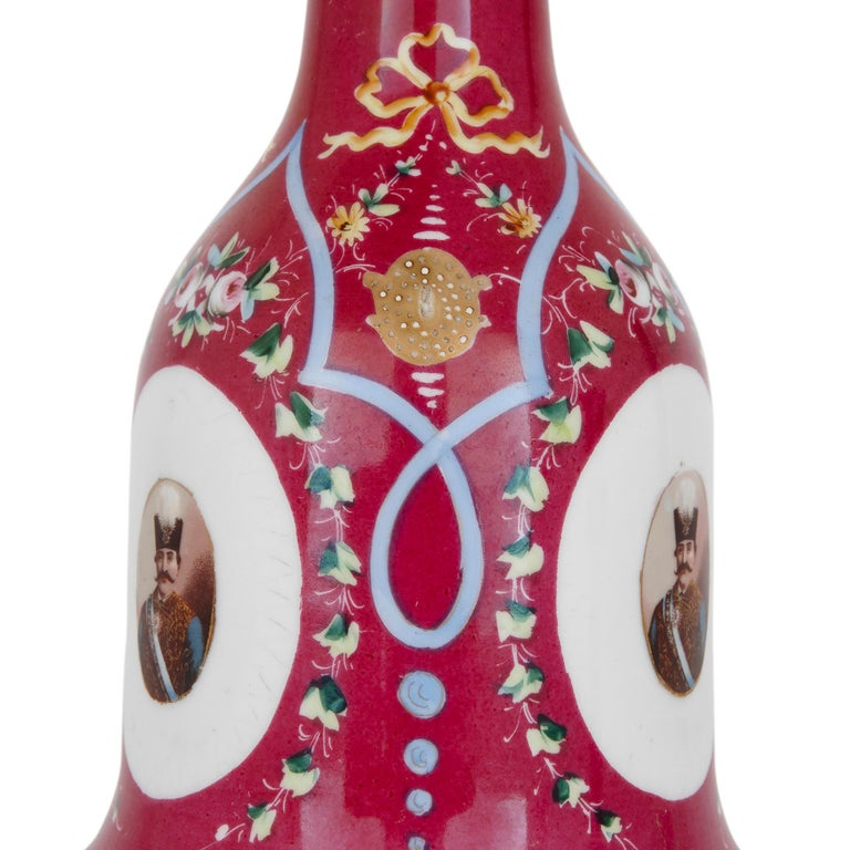 Russian 19th Century Pink Painted Porcelain Huqqa For Sale